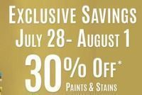 30% Off Paints & Stains + Extra $15 Off $60
