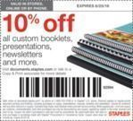 Staples Copy & Print - 10% Off All Custom Booklets, Presentations, Newsletters and More (Printable Coupon)
