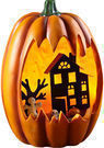 Plow & Hearth Lighted Faux Carved Pumpkin with Haunted House