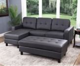 Abbyson Living Leather Reversible Sectional w/ Ottoman