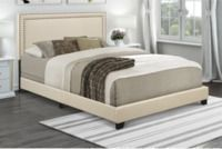 Home Meridian Upholstered Queen Bed with Nail Head Trim